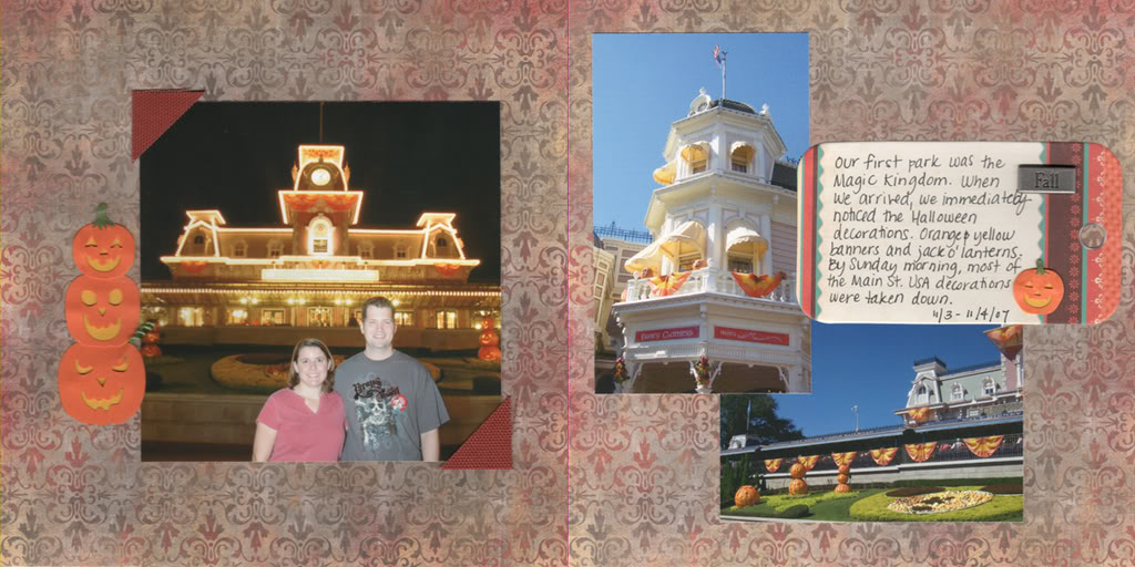 Scrapbook page of the Halloween Decorations at the Magic Kingdom.