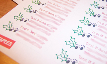 Two Paws Christmas Return Address Labels