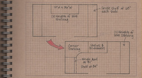 Master Closet: Sketch of New Shelving Layout