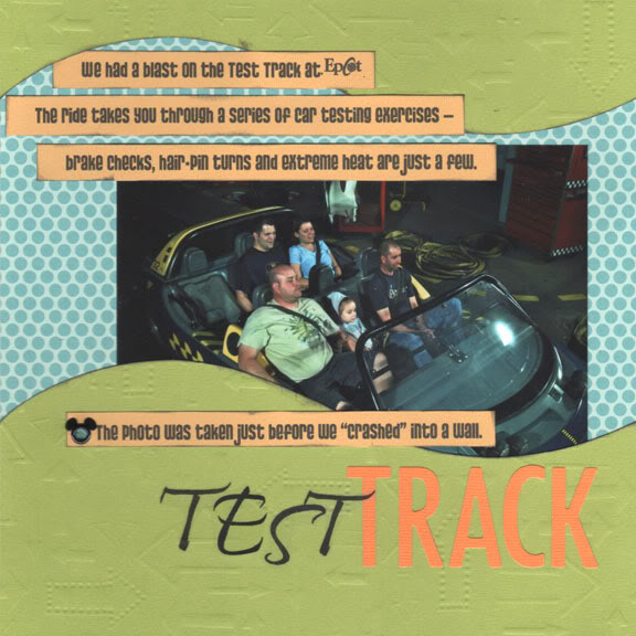 EPCOT: Test Track scrapbooking page