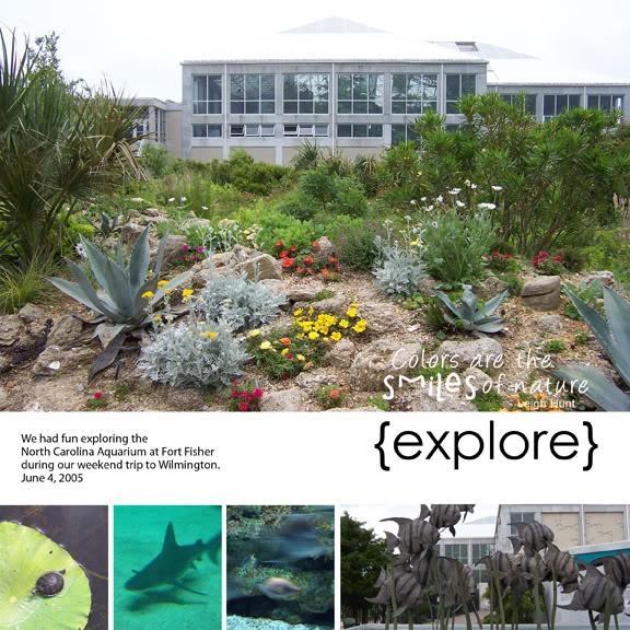 Fort Fisher Aquarium 2005 digital scrapbook layout
