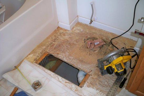 Master Bathroom Toilet Repair: Day 1 - subfloor