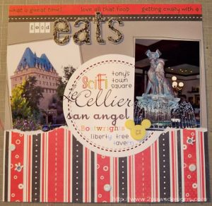 """Good Eats"" in Disney scrapbook page"