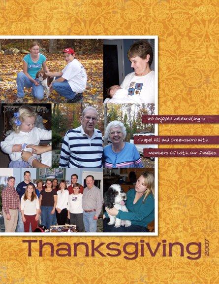 Thanksgiving 2007 digital scrapbook page