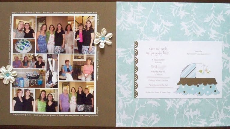 Snips & Snails Baby Shower scrapbook page layout