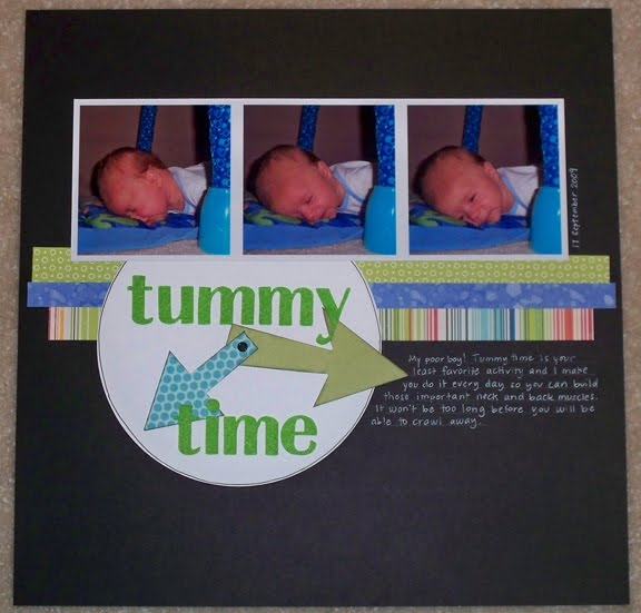 tummy time scrapbook page
