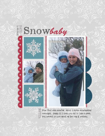 Snow Baby digital scrapbook page