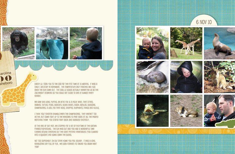 NC Zoo - Nov 2010 digital scrapbook page