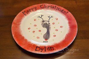 Footprint Reindeer Santa Plate