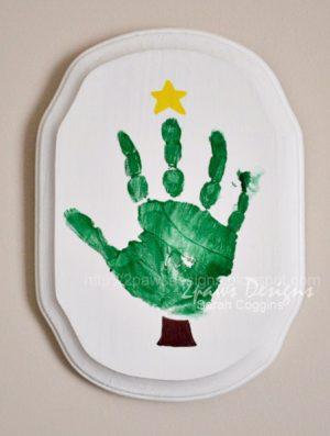 Handprint Christmas Tree Plaque