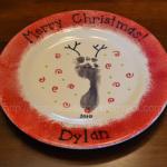 Completed Footprint Reindeer Santa Plate