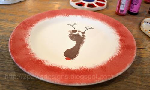 Santa Plate: Footprint Reindeer Painting in Progress