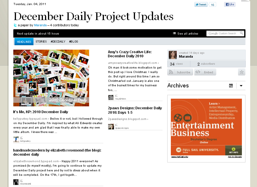 December Daily Updates: PaperLi 4 January 2010