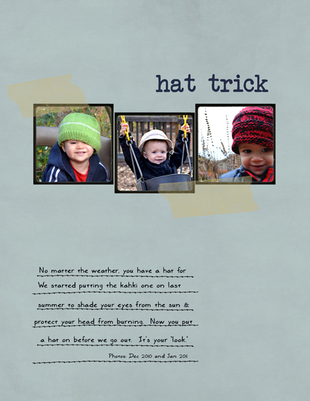 hat trick digital scrapbook page