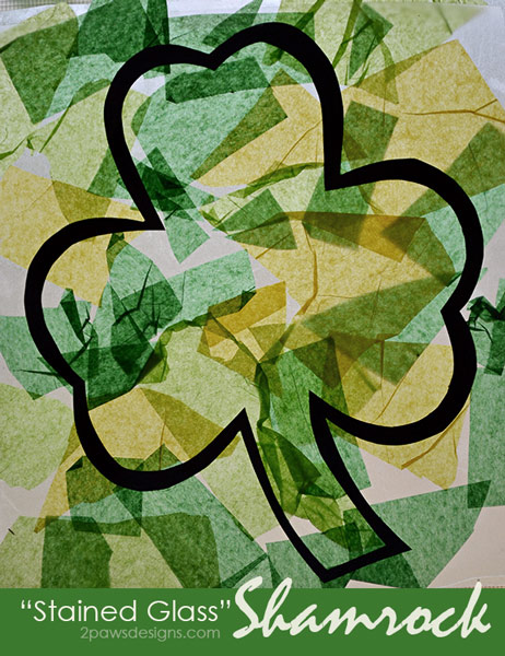 """Stained Glass"" Shamrock Art for Kids"