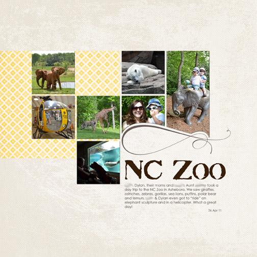 NC Zoo - April 2011 digital scrapbook page