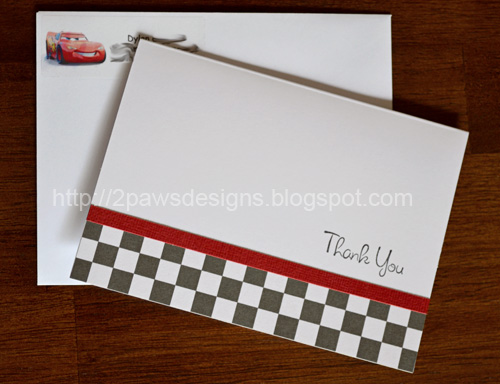 DIY Race Car Thank You Note Cards