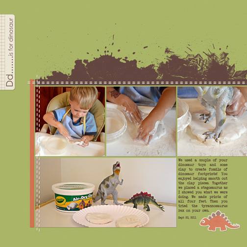Dinosaur Prints Digital Scrapbook Page