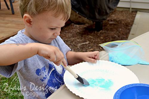 Salt Art: Brushing on More Glue