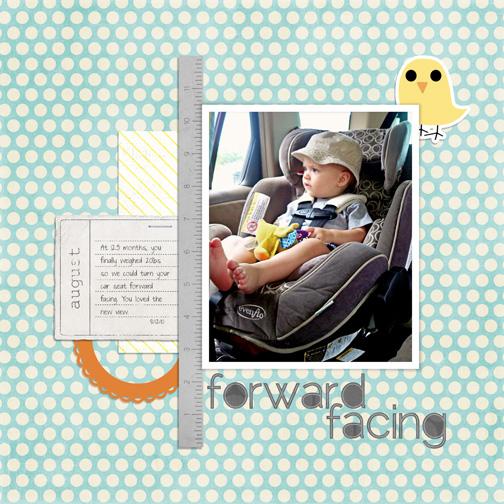 Forward Facing digital scrapbooking page