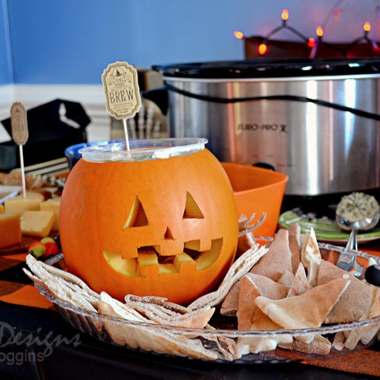 Jack o' Hummus Appetizer at Halloween Party