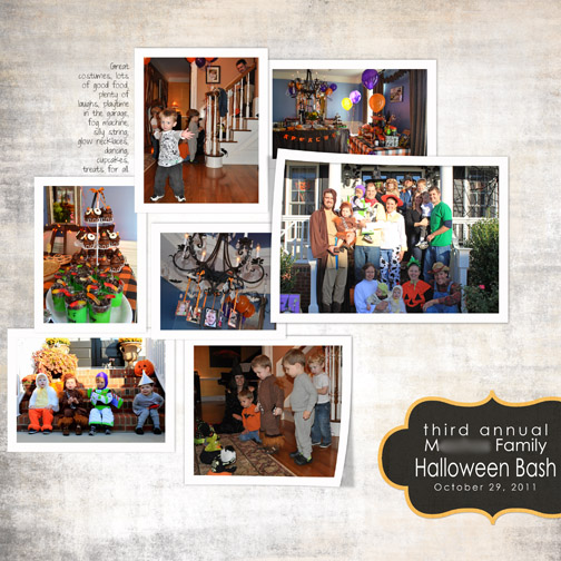 Digital scrapbook layout of our 2011 Halloween Party.
