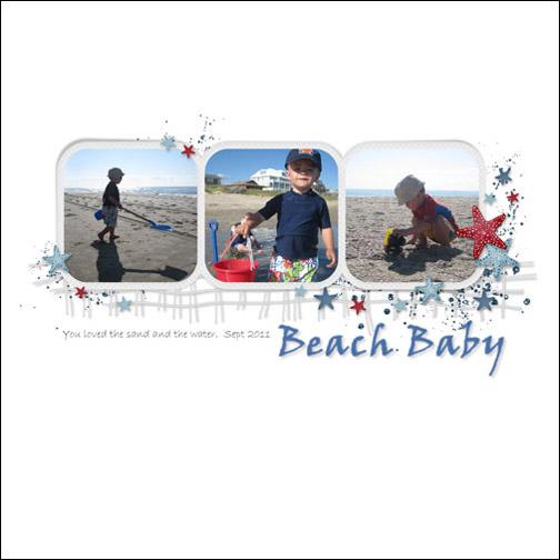 Beach Baby - Sept 2011 digital scrapbook page