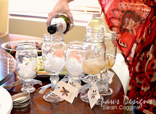 Snowflake Baby Shower: Mason Jar Wine Glasses