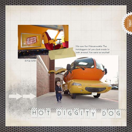 Wienermobile digital scrapbooking page