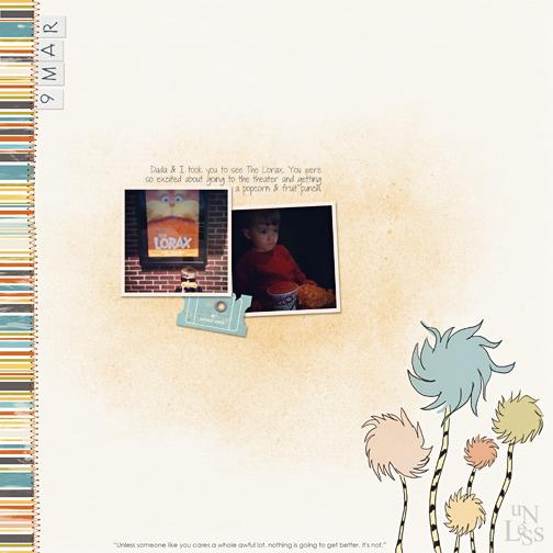 Lorax Movie digital scrapbook page
