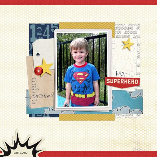 Superman digital scrapbooking page - April 2012
