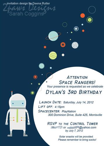 Rocketman Blast Off Space Party Invitation