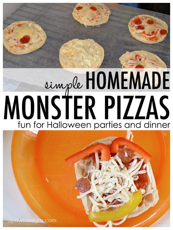 Homemade Monster Pizzas for Halloween