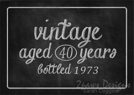 40th Birthday Chalkboard Wine Labels