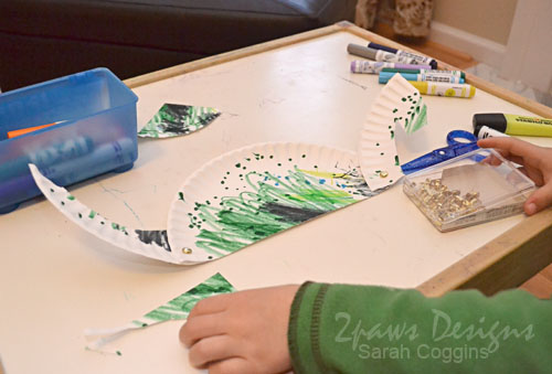 Step 4: Attach Paper Plate Dino Pieces
