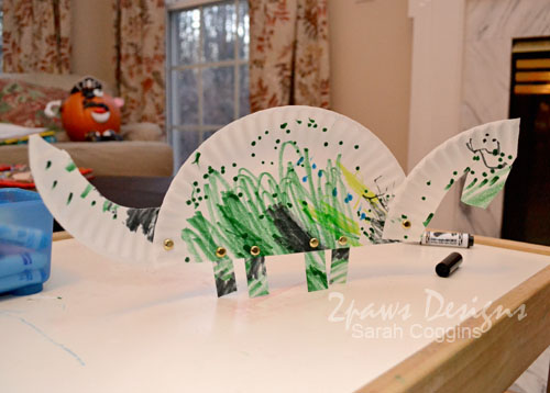 Completed Paper Plate Dino