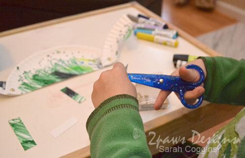 Step 3: Cutting Paper Plate Dino Legs