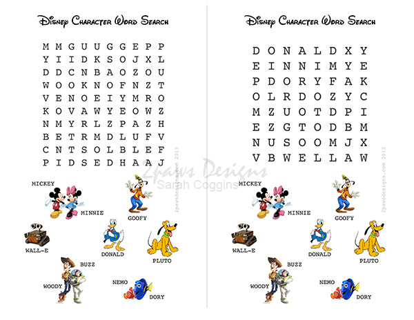 2paws Designs: Disney Character Word Search Printable