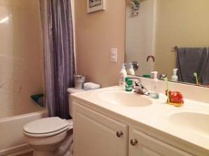 One bathroom clean (minus tub crayons on the shower wall). 1.5 to go. #weekinthelife