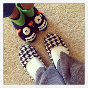 Chilly morning (55) = slippers. #weekinthelife