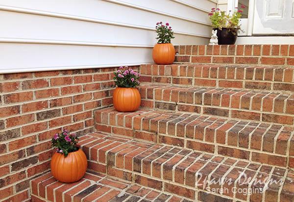 Pumpkin Mums: Porch Steps