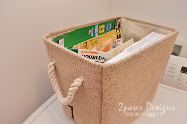 DIY Numbered Burlap Basket: Storage