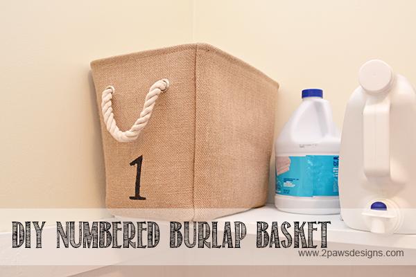 DIY Numbered Burlap Basket