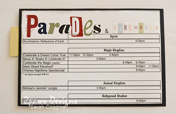 Disney Trip Envelope 2013: Parades & Fireworks