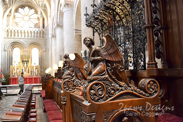 Angel Carving on Pew in Chapel at Christ Church, Oxford University