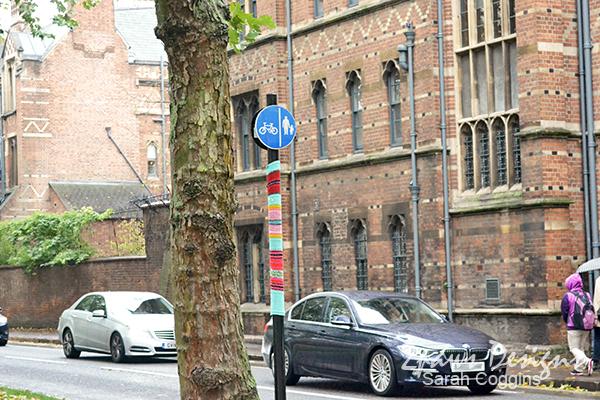 Knit Bomb on Parks Road, Oxford, UK