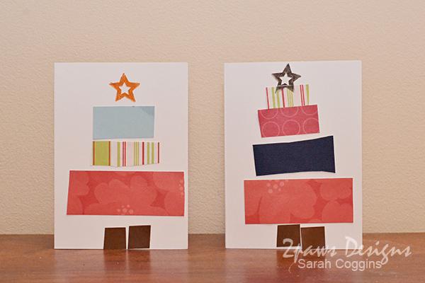 Preschooler Pieced Tree Christmas Cards