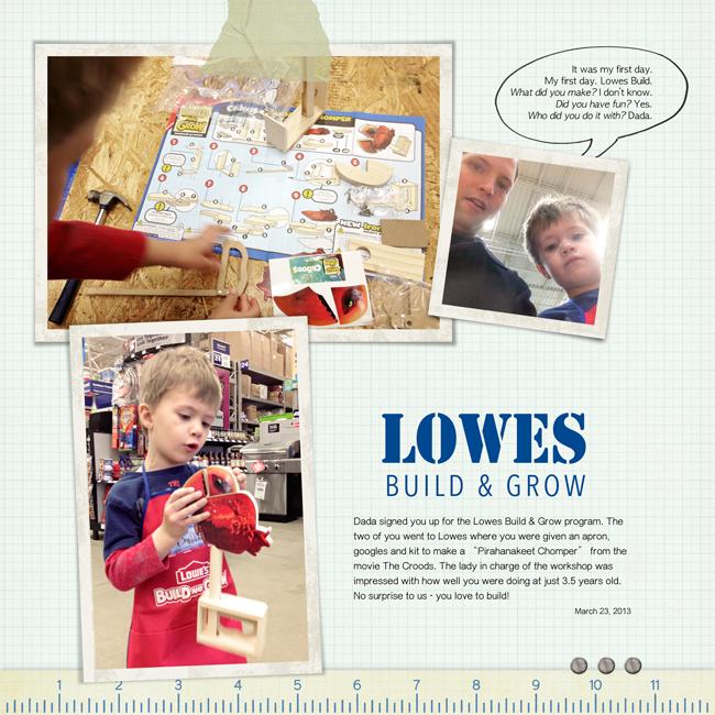 Digital Scrapook Layout of Lowes Build & Grow: The Croods Piranhakeet Chomper