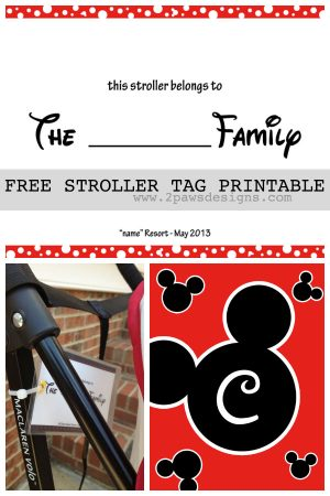 Disney Stroller Tag Free Printable