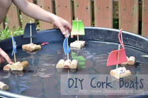 DIY cork boats make a fun pirate themed party craft.